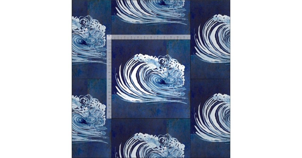 Watercolor Blue Wave Contemporary Modern Decor Fabric Zazzle