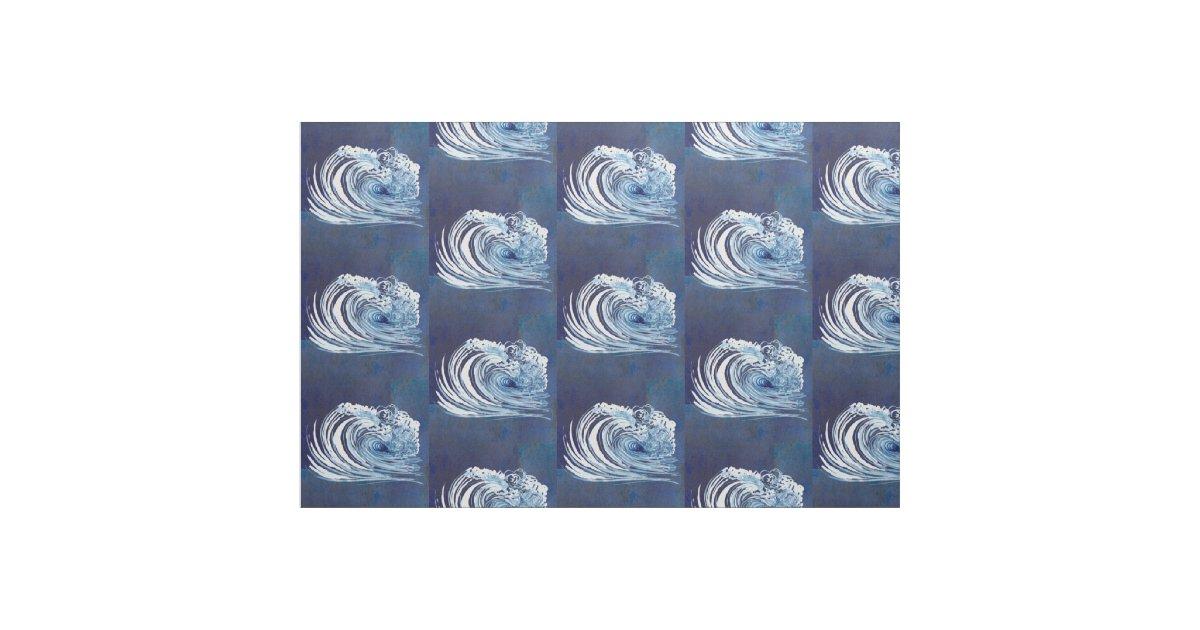 Watercolor blue wave contemporary modern decor fabric zazzle for Modern home decor fabric
