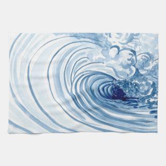 Watercolor Blue Wave Contemporary Modern Decor Hand Towel