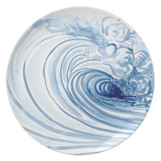 Watercolor Blue Wave Contemporary Modern Decor Plate