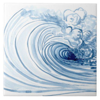 Watercolor Blue Wave Contemporary Modern Decor Tile