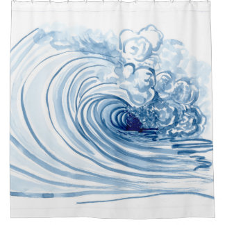 watercolor blue wave modern beach shower curtain