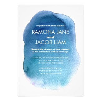 Watercolor Blue Wedding Invitation