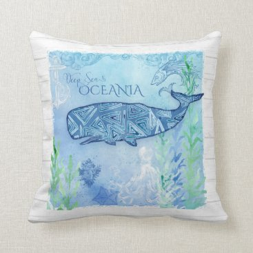 Beach Themed Watercolor Blue Whale Beach Octopus Starfish Decor Throw Pillow