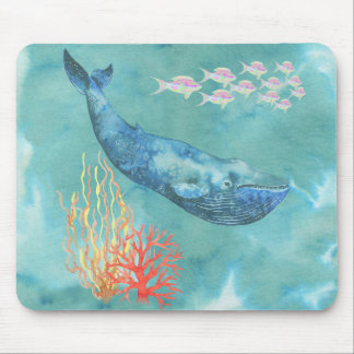 Watercolor Blue Whale ID368 Mouse Pad