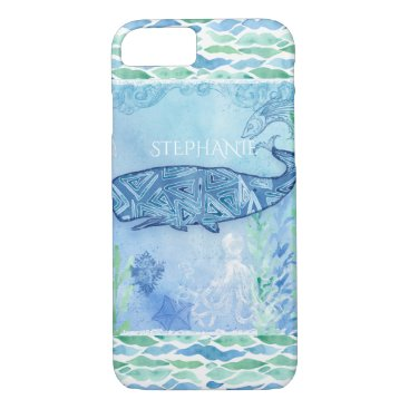 Beach Themed Watercolor Blue Whale Ocean Modern Beach Octopus iPhone 7 Case