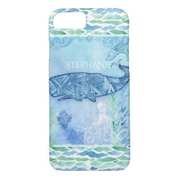 Beach Themed Watercolor Blue Whale Ocean Modern Beach Octopus iPhone 8/7 Case