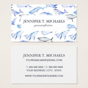 Beach Themed Watercolor Blue Whale Pattern Business Card