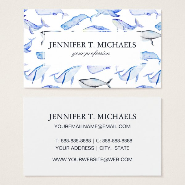Watercolor Blue Whale Pattern Business Card