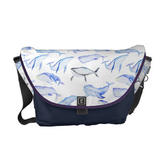 Watercolor Blue Whale Pattern Courier Bag