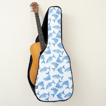 Beach Themed Watercolor Blue Whale Pattern Guitar Case