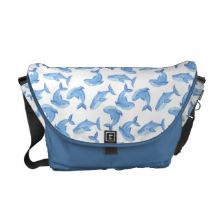 Watercolor Blue Whale Pattern Messenger Bag