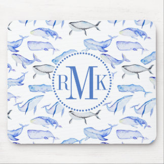 Watercolor Blue Whale Pattern Mouse Pad