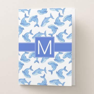 Beach Themed Watercolor Blue Whale Pattern Pocket Folder