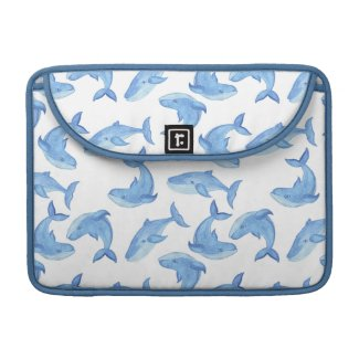 Watercolor Blue Whale Pattern Sleeve For MacBook Pro