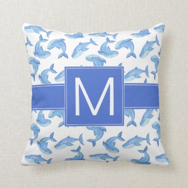 Beach Themed Watercolor Blue Whale Pattern Throw Pillow