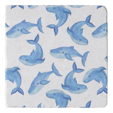 Beach Themed Watercolor Blue Whale Pattern Trivet