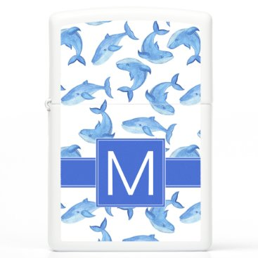 Beach Themed Watercolor Blue Whale Pattern Zippo Lighter