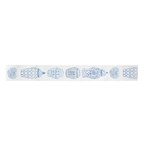 Watercolor Blue White Ginger Jar Chinese Patterns Satin Ribbon