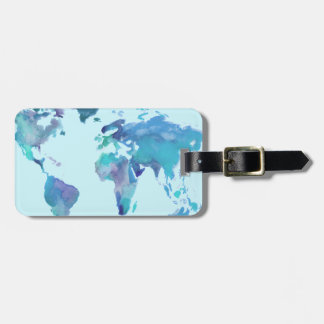 Watercolor Blue World Map Luggage Tag