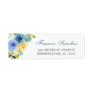 Watercolor Blue Yellow Botanical Garden Flowers Label