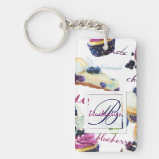 Watercolor Blueberries and Sweets Monogram Keychain