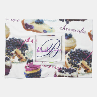 Watercolor Blueberries and Sweets Monogram Towel
