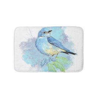 Watercolor Bluebird Bird Nature Art Bathroom Mat