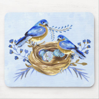 Watercolor Bluebirds with Eggs in a Nest Mouse Pad