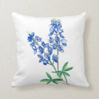 Watercolor Bluebonnets Throw Pillow