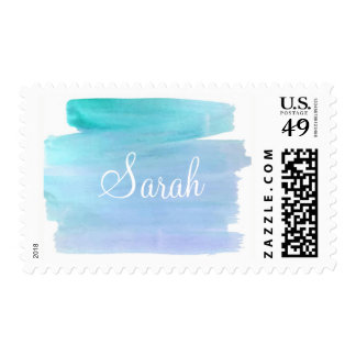 watercolor blues and purples customizeable stamp