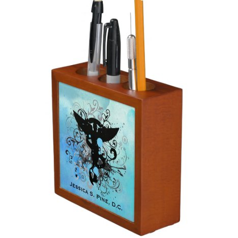 Watercolor {blues} Chiropractic Desk Organizer