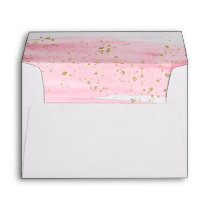 Watercolor Blush and Gold Lined Wedding Invitation Envelope