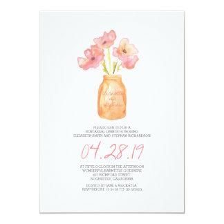 "watercolor blush floral REHEARSAL DINNER 5"" X 7"" Invitation Card"