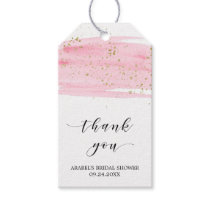 Watercolor Blush & Gold Bridal Shower Thank You Gift Tags