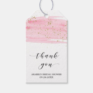 watercolor blush gold bridal shower thank you gift tags