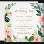 "Watercolor Blush Gold Floral 80th Birthday Invite<br><div class=""desc"">More modern floral Birthday Invitations in the Little Bayleigh Store!</div>"