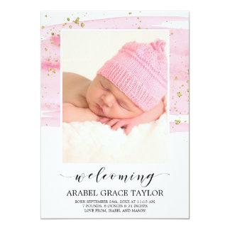 Watercolor Blush & Gold Photo Birth Announcement
