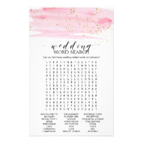 Watercolor Blush & Gold Wedding Word Search Game Flyer