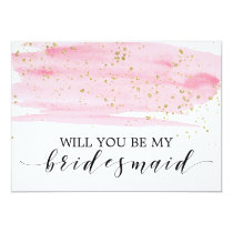 Watercolor Blush & Gold Will You Be My Bridesmaid Card