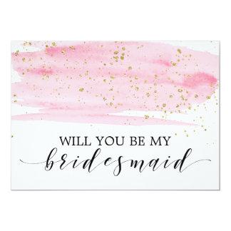Watercolor Blush & Gold Will You Be My Bridesmaid Invitation