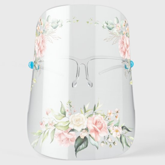 Watercolor Blush Pink and White Roses Face Shield
