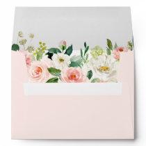 Watercolor Blush Pink Floral Return Address 5x7 Envelope