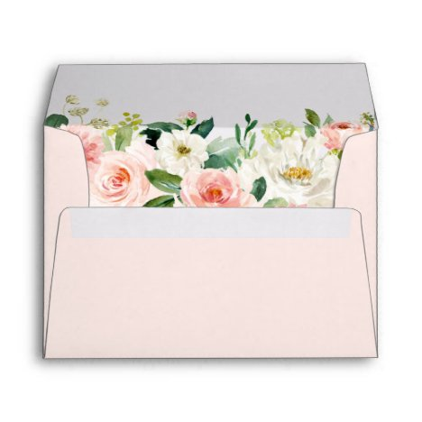 Watercolor Blush Pink Floral Return Address 5x7 Envelope