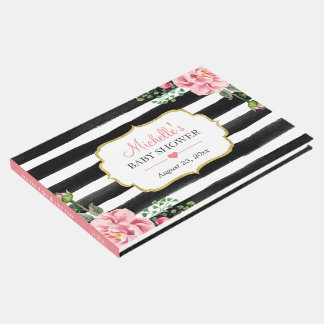 Watercolor Blush Pink Floral Stripes Baby Shower Guest Book