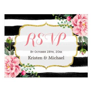 Watercolor Blush Pink Floral Stripes RSVP Postcard