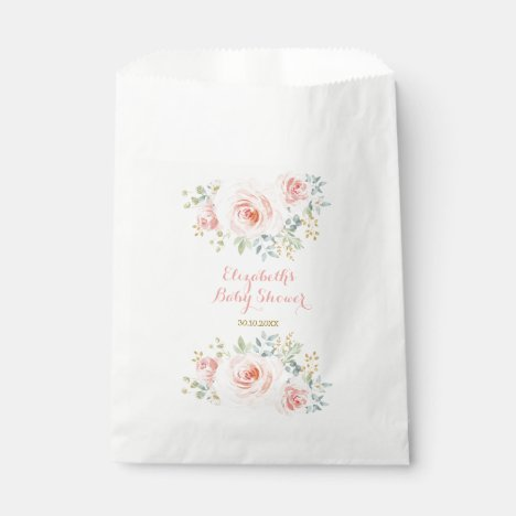 Watercolor Blush Pink Gold Flower Roses Party Favor Bag