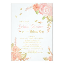 Watercolor Blush Pink & Peach Roses Bridal Shower Card