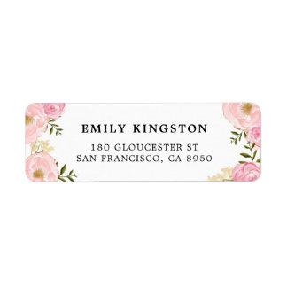 Watercolor Blush Pink Peonies Address Label