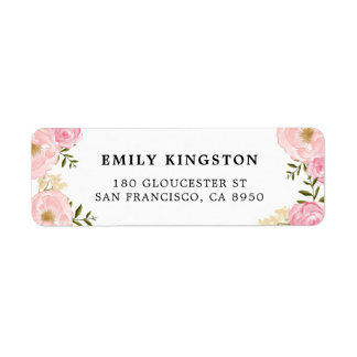 Watercolor Blush Pink Peonies Address Label